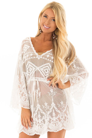 White Sheer Embroidered Dress with Waist Tie Detail front close up