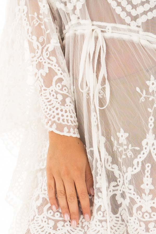 White Sheer Embroidered Dress with Waist Tie Detail detail