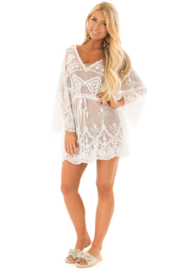White Sheer Embroidered Dress with Waist Tie Detail front full body