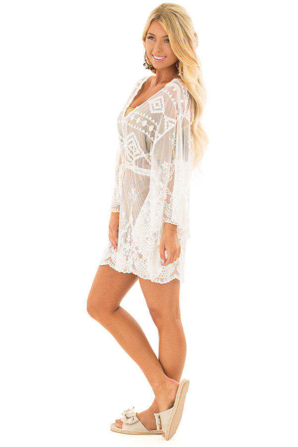 White Sheer Embroidered Dress with Waist Tie Detail side full body