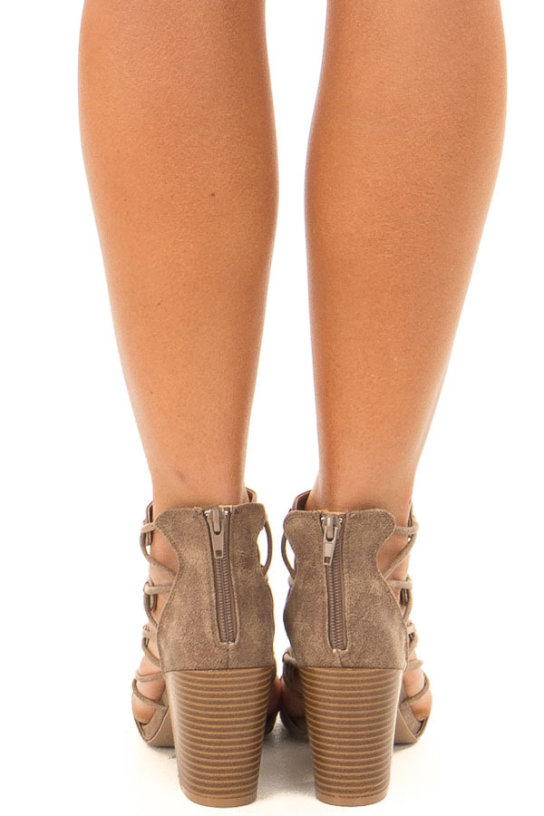 Dark Taupe Lace Up Open Toe High Heels back view