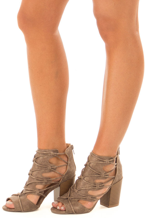Dark Taupe Lace Up Open Toe High Heels front side view