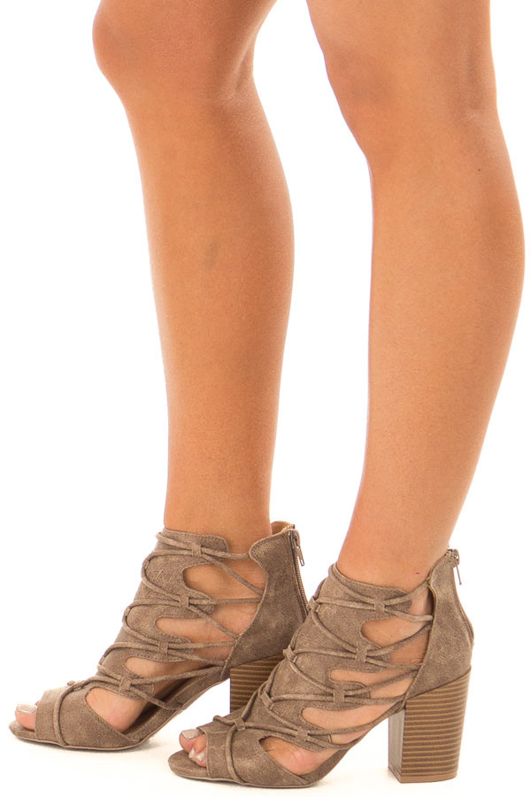 Dark Taupe Lace Up Open Toe High Heels side view