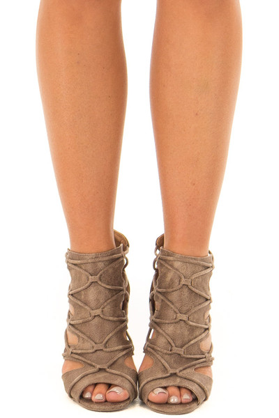 Dark Taupe Lace Up Open Toe High Heels front view