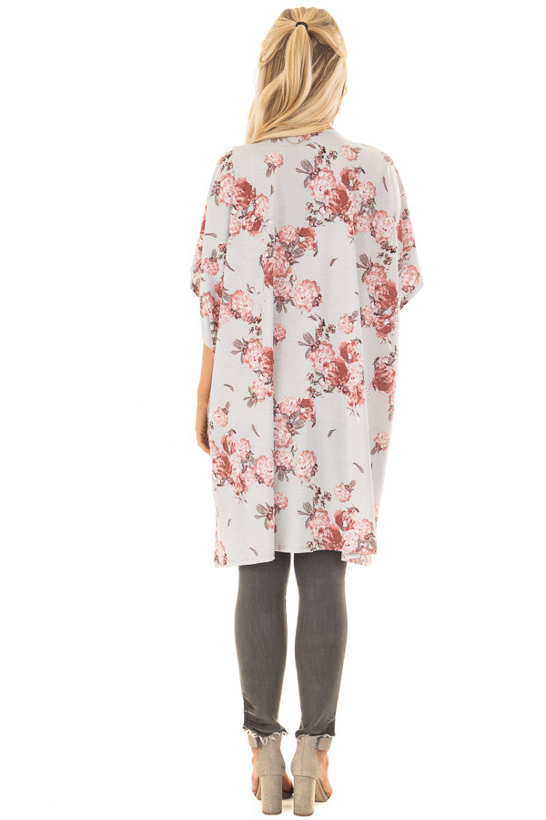 Stormy Grey Floral Print Short Sleeve Open Kimono back full body