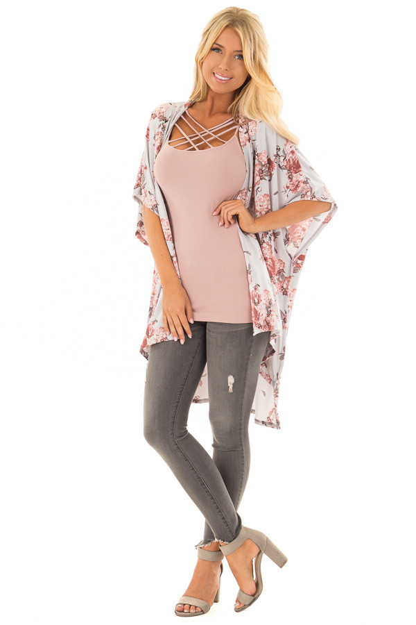 Stormy Grey Floral Print Short Sleeve Open Kimono front full body