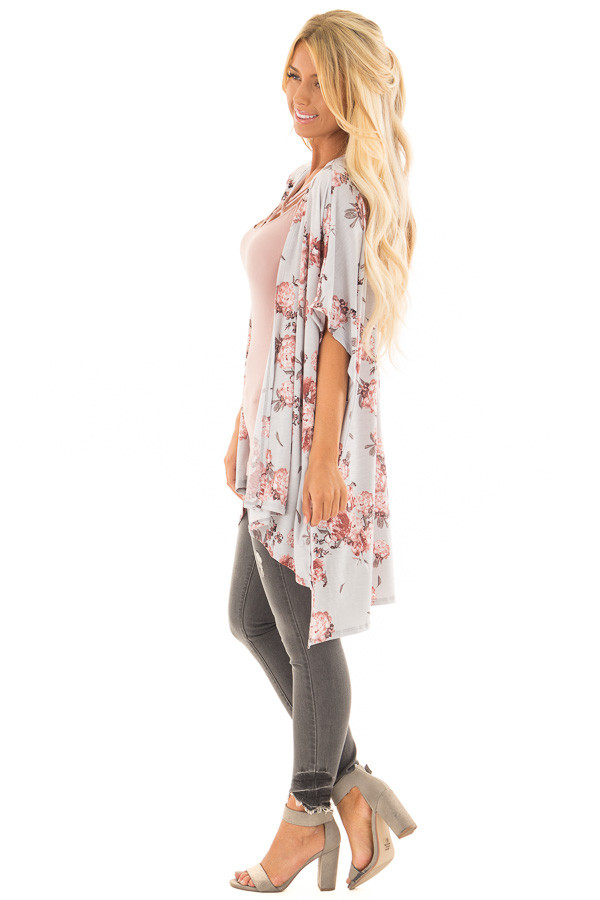 Stormy Grey Floral Print Short Sleeve Open Kimono side full body