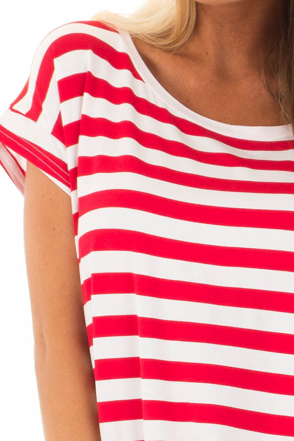 Scarlet Red Striped Short Sleeve Top with High Low Hem detail