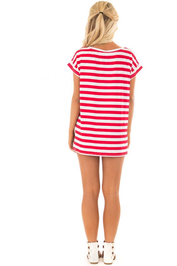 Scarlet Red Striped Short Sleeve Top with High Low Hem back full body