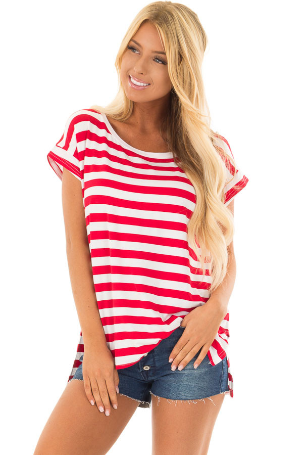 Scarlet Red Striped Short Sleeve Top with High Low Hem front close up
