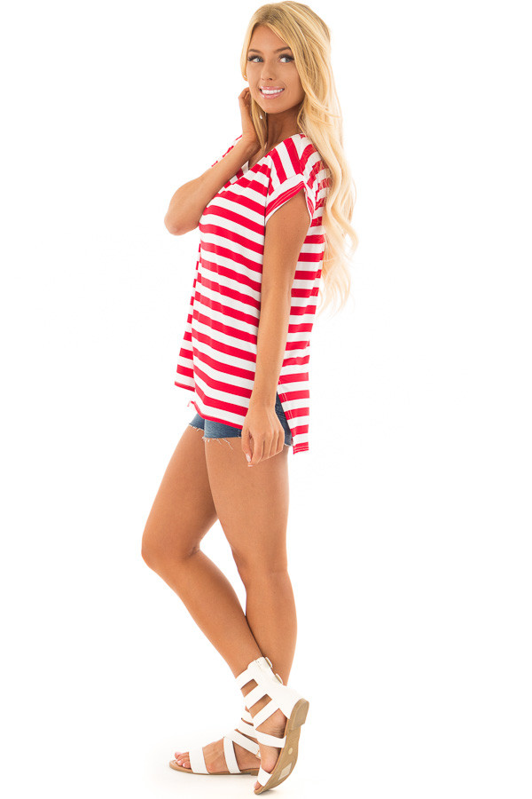 Scarlet Red Striped Short Sleeve Top with High Low Hem side full body