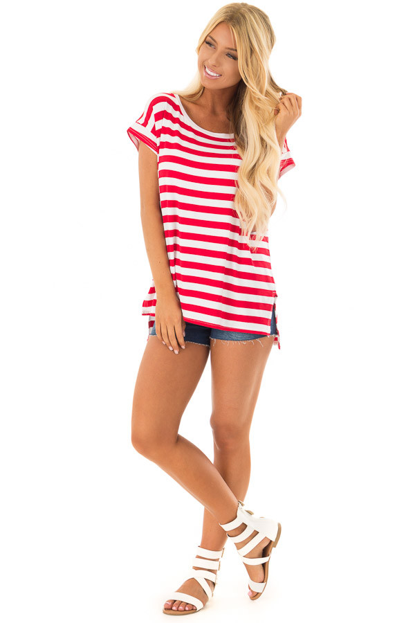Scarlet Red Striped Short Sleeve Top with High Low Hem front full body