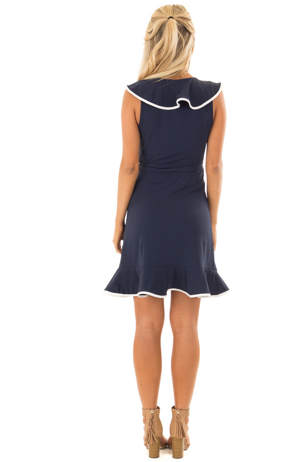 Navy Blue Wrap Dress with Waist Tie and White Trim Detail back full body