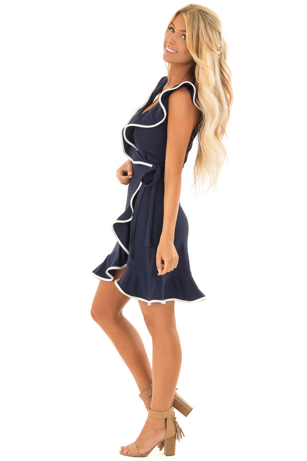 Navy Blue Wrap Dress with Waist Tie and White Trim Detail side full body