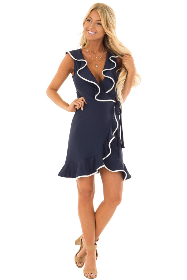 Navy Blue Wrap Dress with Waist Tie and White Trim Detail front full body