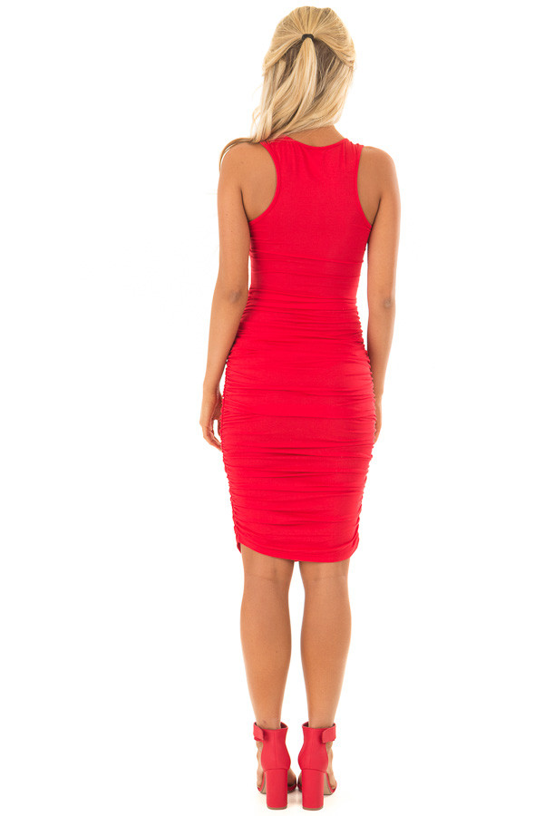 Candy Red Midi Dress with Side Ruching back full body