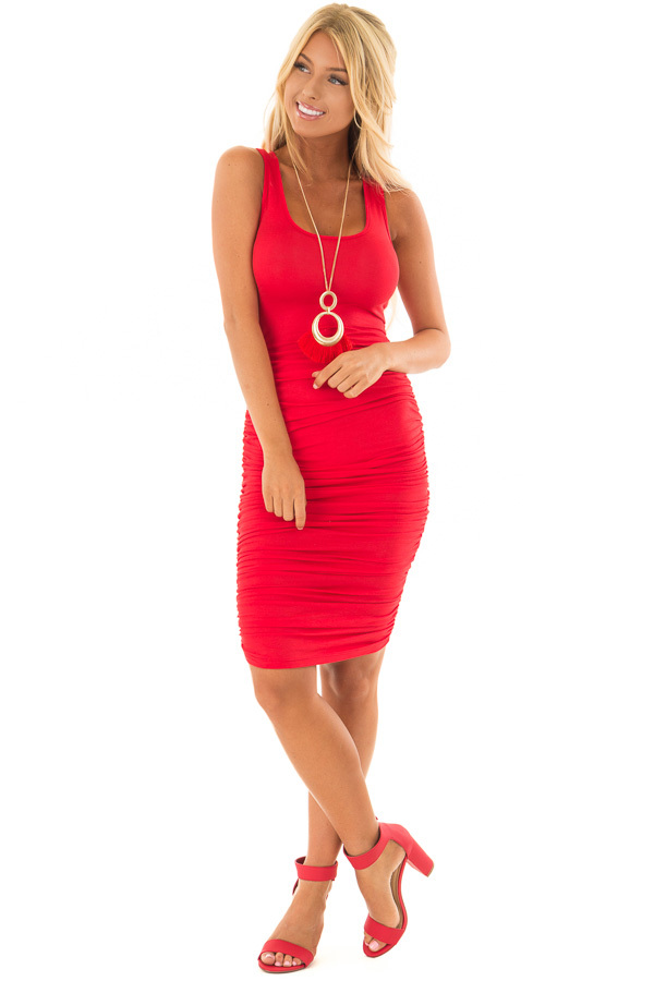 Candy Red Midi Dress with Side Ruching front full body