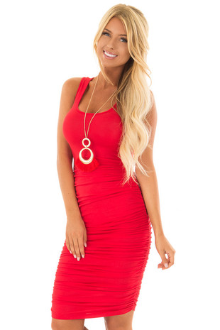 Candy Red Midi Dress with Side Ruching front close up
