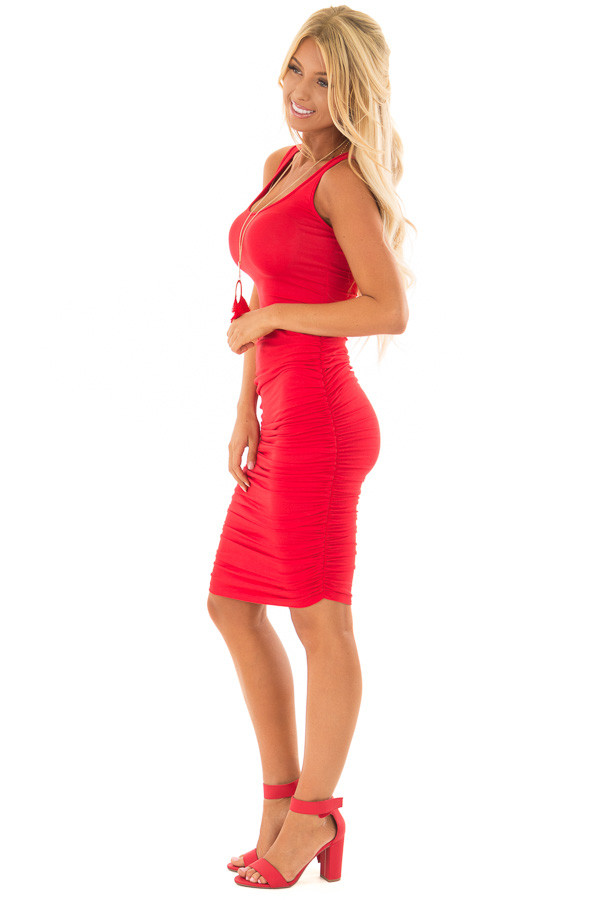 Candy Red Midi Dress with Side Ruching side full body