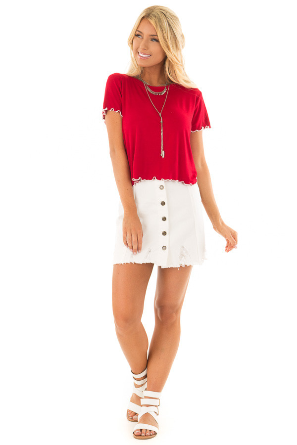 Crimson Tee Shirt with Ruffled White Stitched Hem front full body