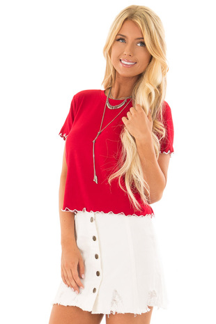 Crimson Tee Shirt with Ruffled White Stitched Hem front close up