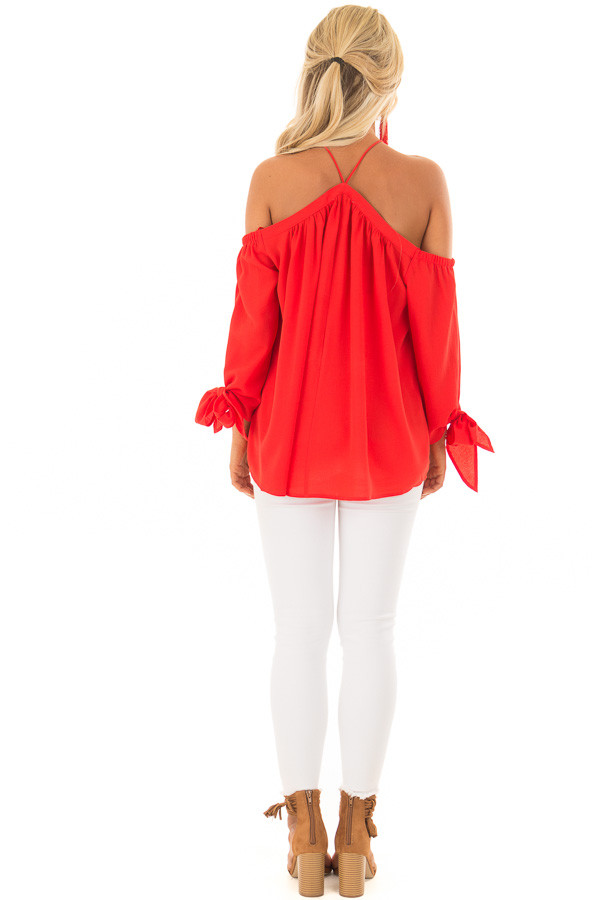 Firecracker Red Off the Shoulder Top with Sleeve Ties back full body