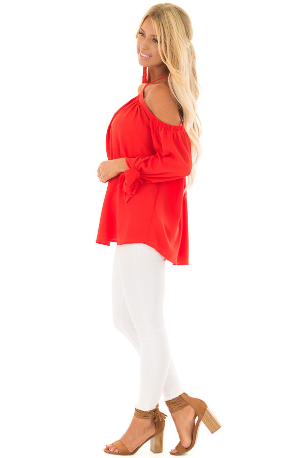 Firecracker Red Off the Shoulder Top with Sleeve Ties side full body