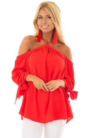 Firecracker Red Off the Shoulder Top with Sleeve Ties front close up