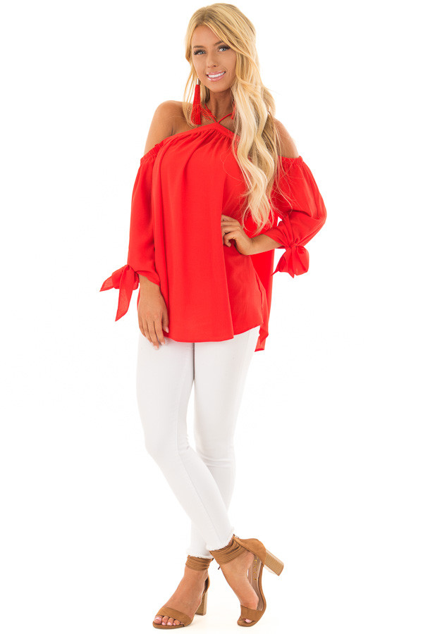 Firecracker Red Off the Shoulder Top with Sleeve Ties front full body