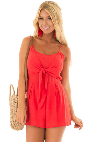 Tomato Red Romper with Tie Detail in Back front close up