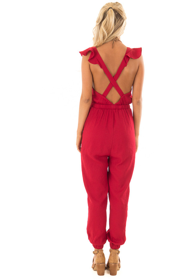 Scarlet Jumpsuit with Open Back and Waist Tie back full body