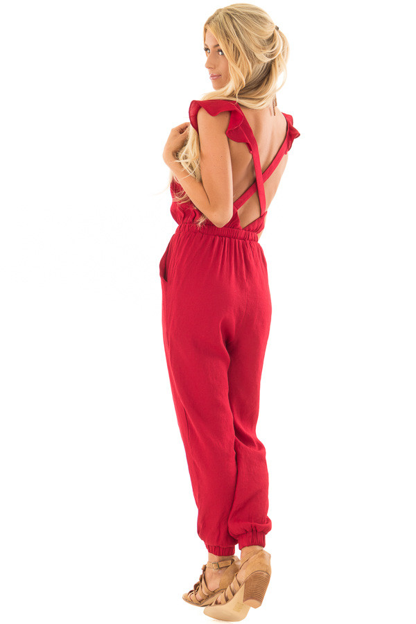 Scarlet Jumpsuit with Open Back and Waist Tie back side full body