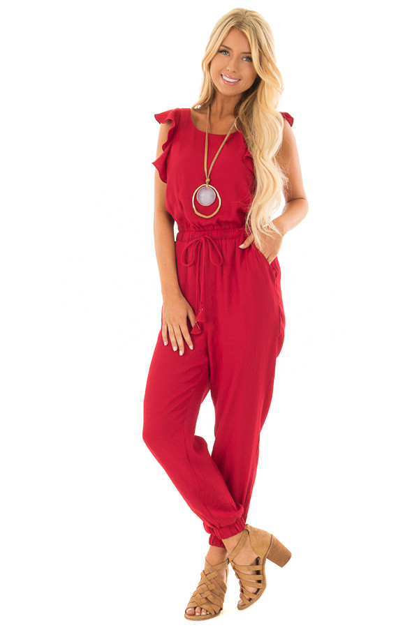 Scarlet Jumpsuit with Open Back and Waist Tie front full body