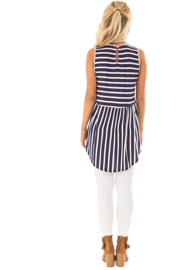 Navy and Off White Striped Tank Top with Crochet Trim back full body