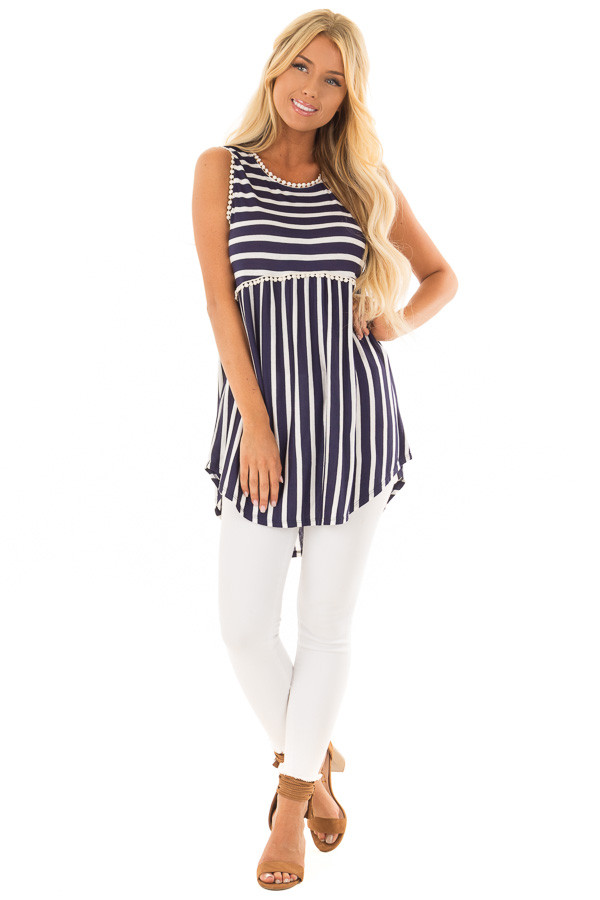 Navy and Off White Striped Tank Top with Crochet Trim front full body