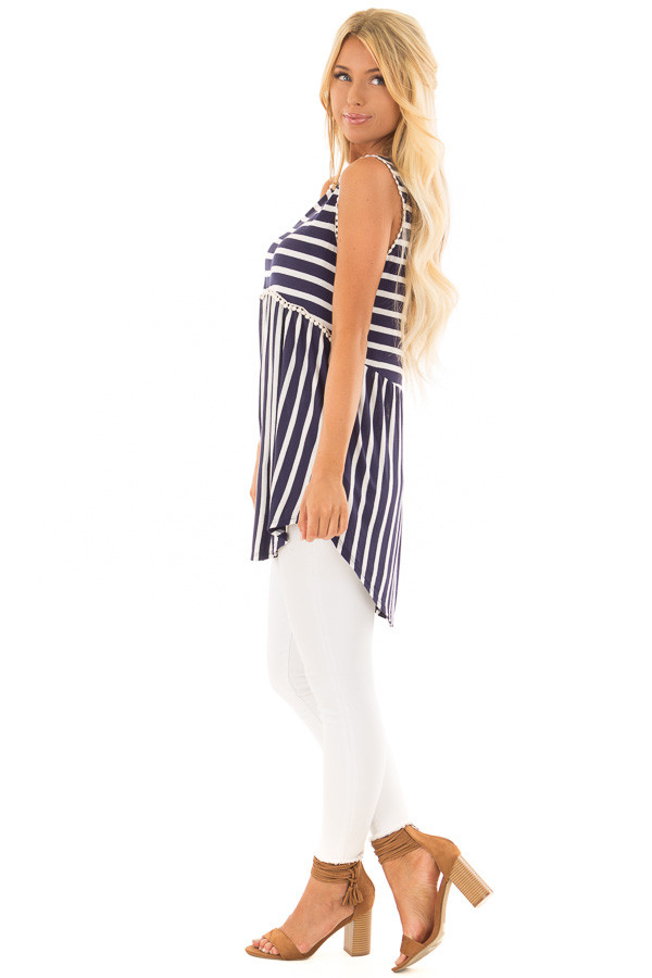 Navy and Off White Striped Tank Top with Crochet Trim side full body
