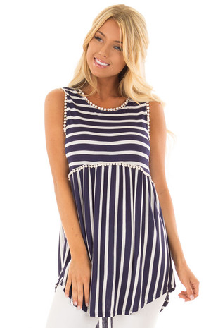 Navy and Off White Striped Tank Top with Crochet Trim front close up