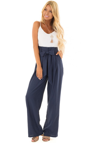 Navy and White Jumpsuit with Waist Tie and Side Pockets front full body