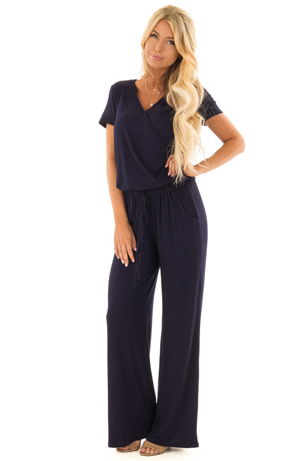 Navy Short Sleeve Jumpsuit with Gathered Waist and Pockets front full body