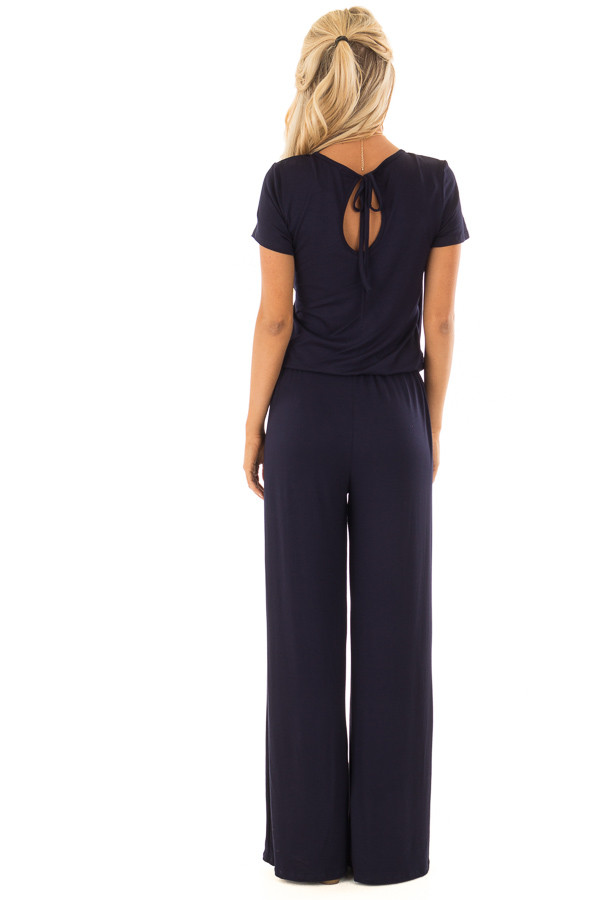Navy Short Sleeve Jumpsuit with Gathered Waist and Pockets back full body
