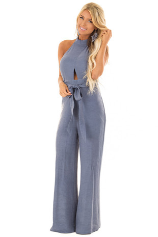 Dusty Blue Halter Jumpsuit with Waist Tie front close up