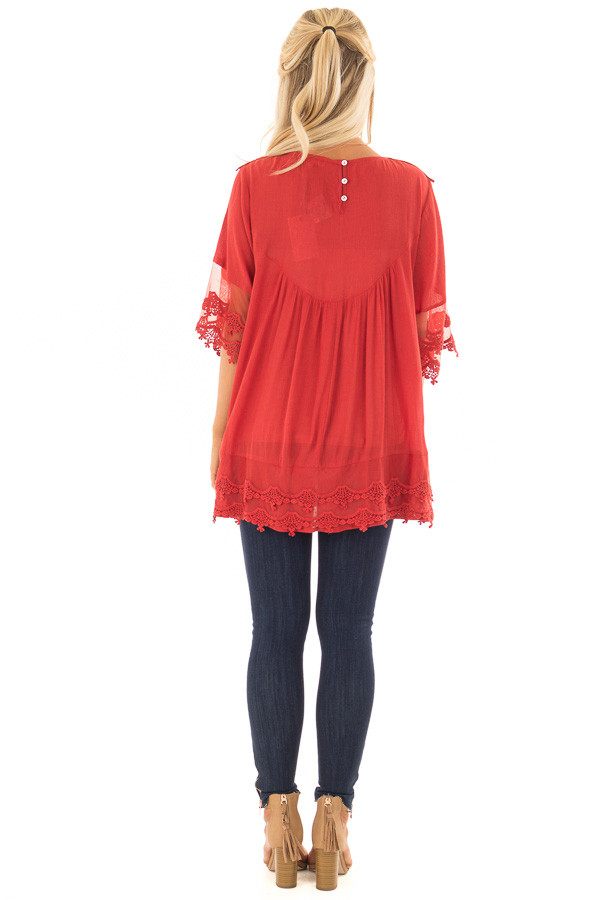 Scarlet Flowy Tunic with Sheer Crochet Sleeves back full body