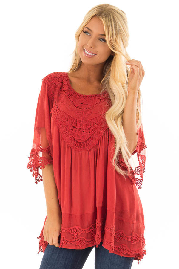 Scarlet Flowy Tunic with Sheer Crochet Sleeves front close up