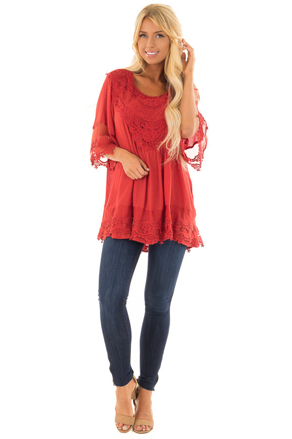 Scarlet Flowy Tunic with Sheer Crochet Sleeves front full body