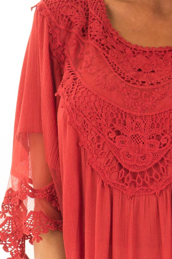 Scarlet Flowy Tunic with Sheer Crochet Sleeves detail