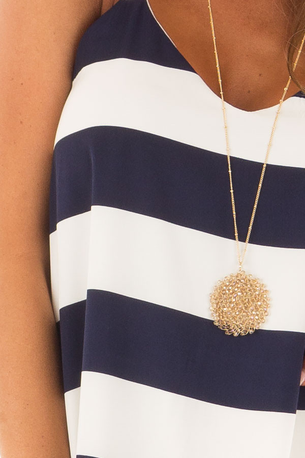 Navy and White Striped Sleeveless Dress detail