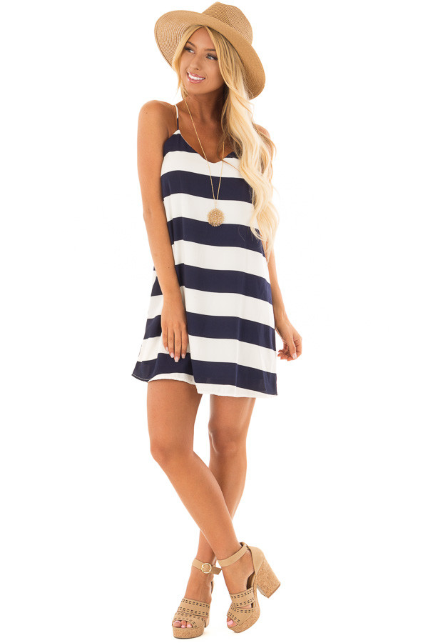 Navy and White Striped Sleeveless Dress front full body