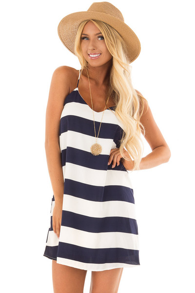 Navy and White Striped Sleeveless Dress front close up