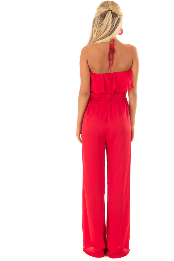 Candy Red Halter Jumpsuit with Side Pockets back full body
