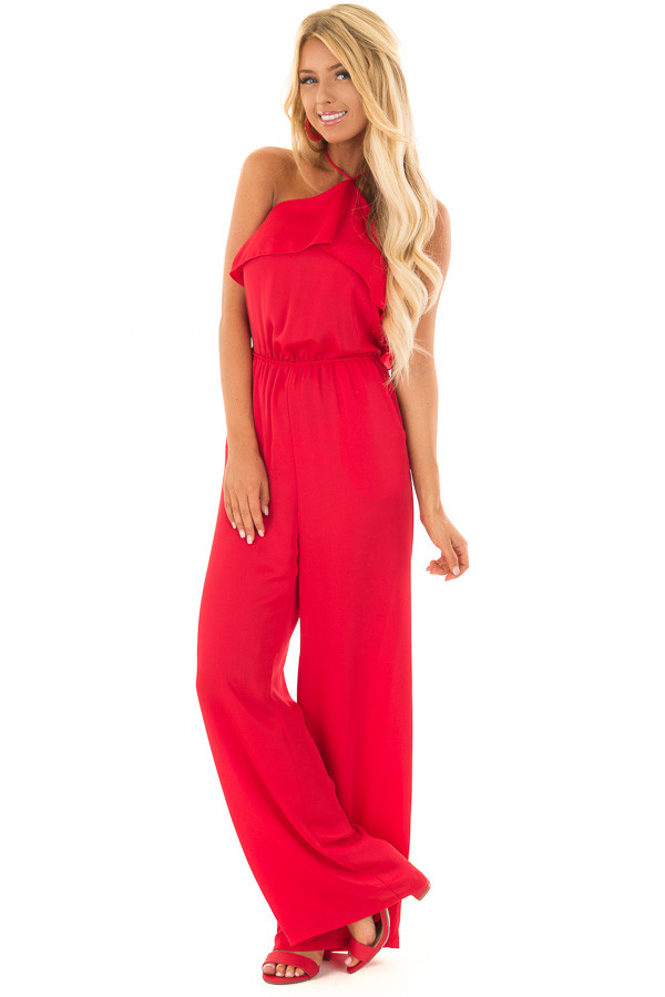 Candy Red Halter Jumpsuit with Side Pockets front full body